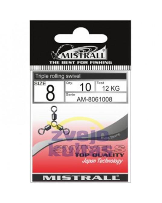 Suktukai Mistrall Triple Rolling Swivel (Trišakis)